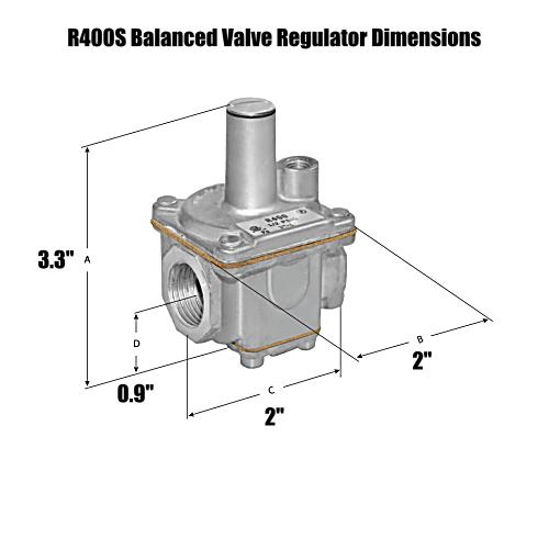 "Maxitrol R400S-3/8 Balanced Valve 3/8"" NPT Design Gas Regulator"