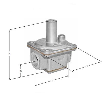 "Maxitrol R600-1 Balanced Valve Design 1"" x 1"" Gas Regulator Dimension Reference"