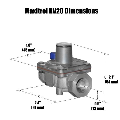 Maxitrol RV20VLRubber Seat Poppet Design Regulator Dimensions